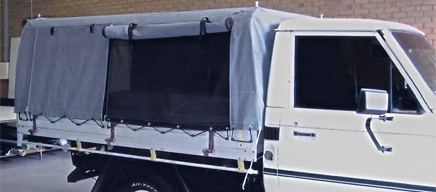 Standard ute canopy with addition of mesh sides for ventilation